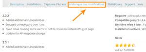 Historique des modifications du plugin WordPress