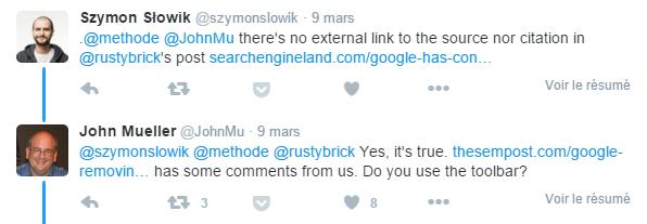 John Mueller de Google dans Twitter