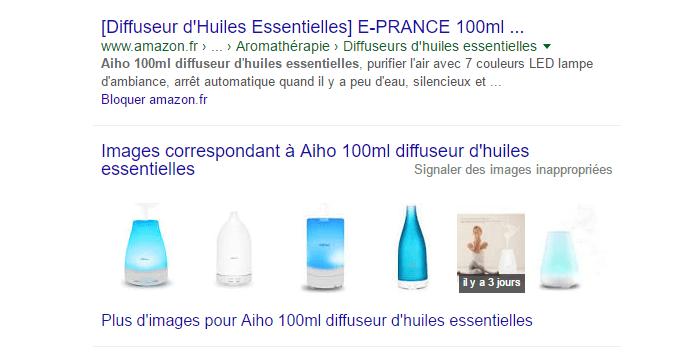 Images dans les résultats de recherche de Google.fr
