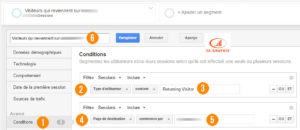 Segment Google Analytics : Visiteurs qui retournent sur des landing page