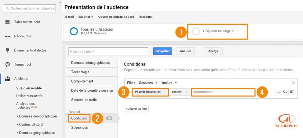 Création d'un segment avancé dans Google Analytics : Page de destination