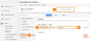 Création d'un segment dans Google Analytics : Page de destination