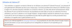Google Analytics : masquage d'adresse IP