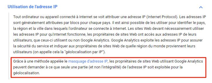 Google Analytics et les adresses IP des visiteurs de sites web.