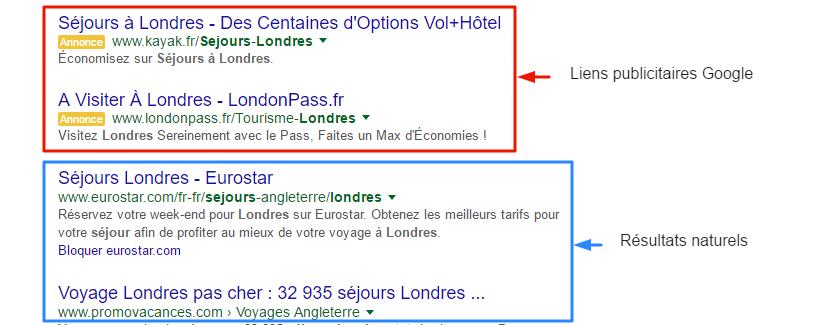 Différence liens publicitaires Google et résultats naturels