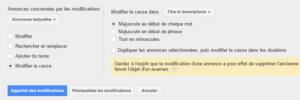 Modification de la casse - Outil Google AdWords