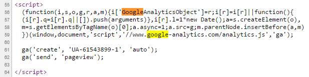 Script Google Analytics dans le code source
