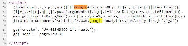 Script Google Analytics dans le code source