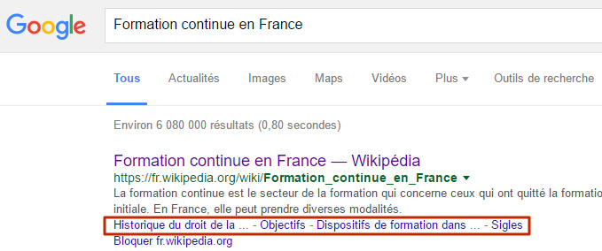 Ancre sous snippet Google Search