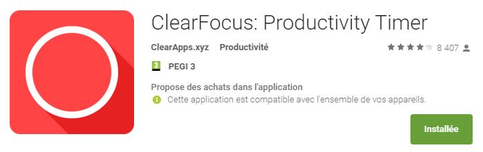 Appli pomodoro ClearFocus