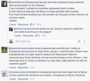 Commentaires de produits de beauté dans Facebook