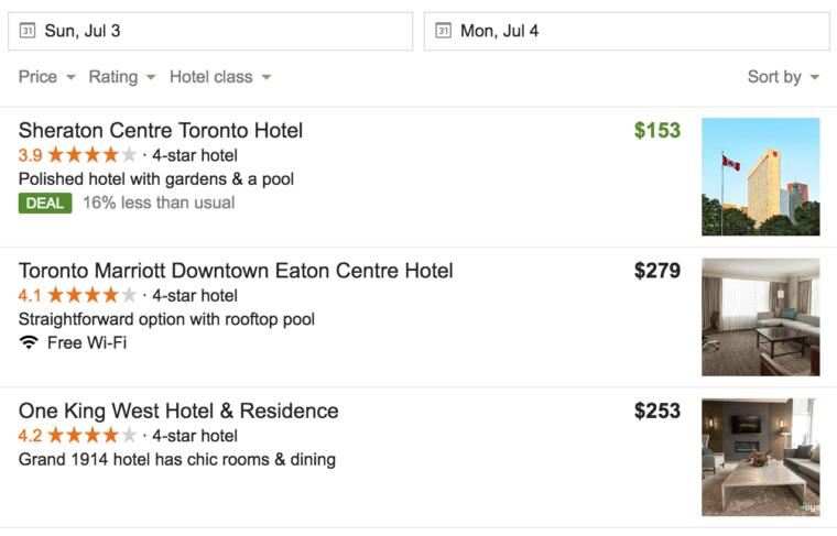 Google Deal dans le Pack Local (recherche d'hôtel)