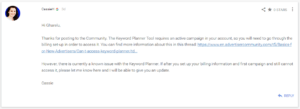 Keyword Planner Tool (forum)