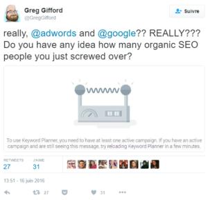 Il faut avoir une campagne publicitaire AdWords active pour utiliser Keyword Planner Tool