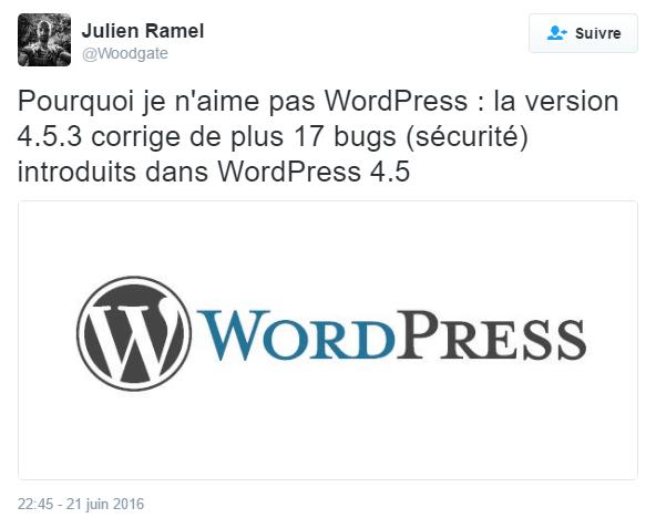 Je n'aime pas WordPress