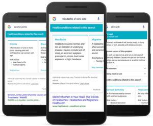 Recherche de symptômes sur Google mobile