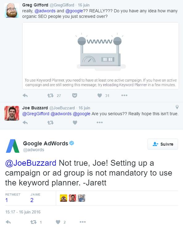 Réponse d'AdWords dans Twitter
