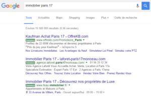 Labels verts des annonces publicitaires de Google
