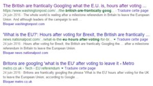 Brexit : Les titres de la presse anglophone dans Google Search
