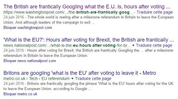 Les titres de la presse anglophone dans Google Search
