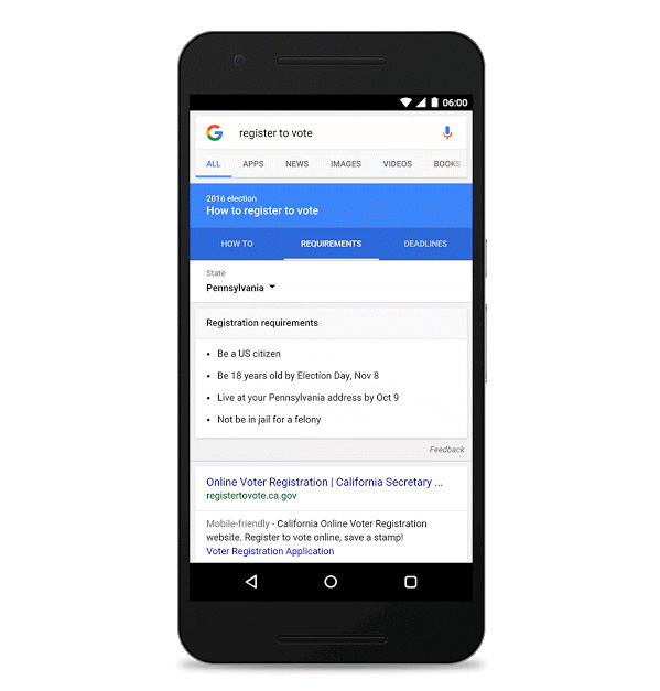 """Register to vote"" nouvel outil dans Google Search"