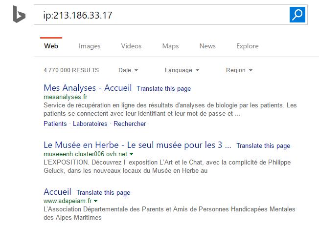 Voisinage de sites dans Bing