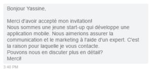 Message dans LinkedIn