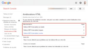 Améliorations HTML dans la Search Console