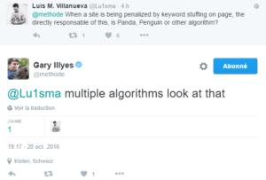 Quel algorithme pénalise un site pour Keyword Stuffing ?
