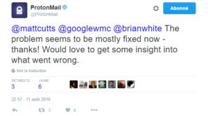 Fin du problème de ProtonMail