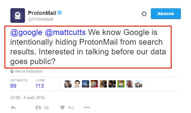 ProtonMail et Matt Cutts