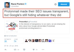 Rand Fishkin à propos de Google / ProtonMail