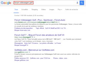 """SERP de Google pour la requête """"forum volkswagen golf"""""""