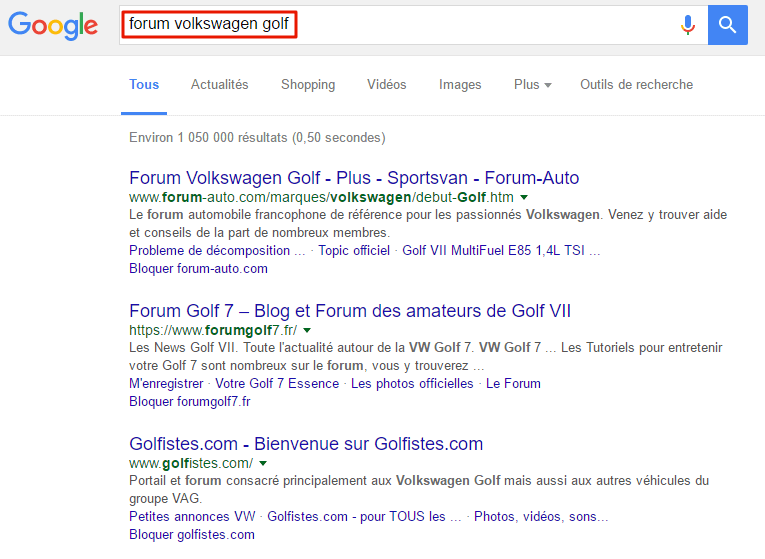 SERP de Google pour la requête