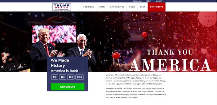 Accueil du site Donaldjtrump.com