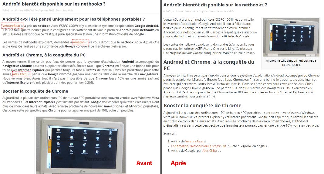 Avant et après : Amélioration d'un ancien contenu