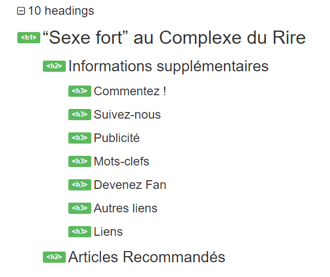 Balises headings d'un article du blog