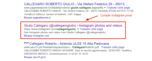 Compte Instagram privé indexé dans Google.fr