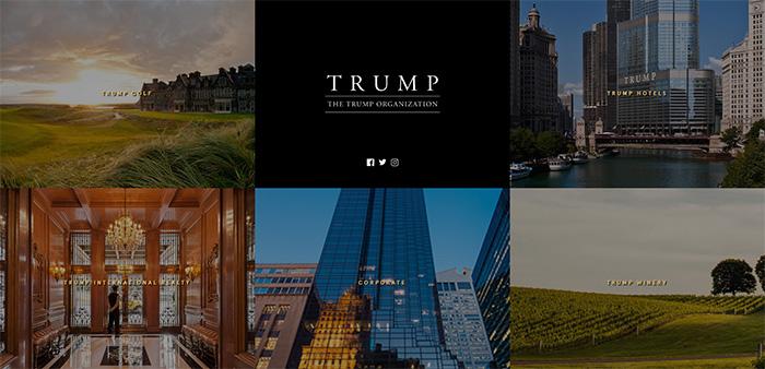 Contenu de la page d'accueil de Trump.com