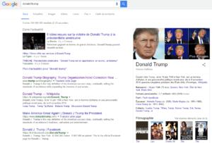 Donald Trump dans les résultats de Google Search