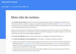 Mots clés de contenu dans l'Aide Search Console