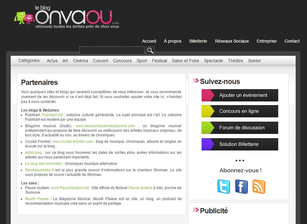 Page partenaire du blog événementiel
