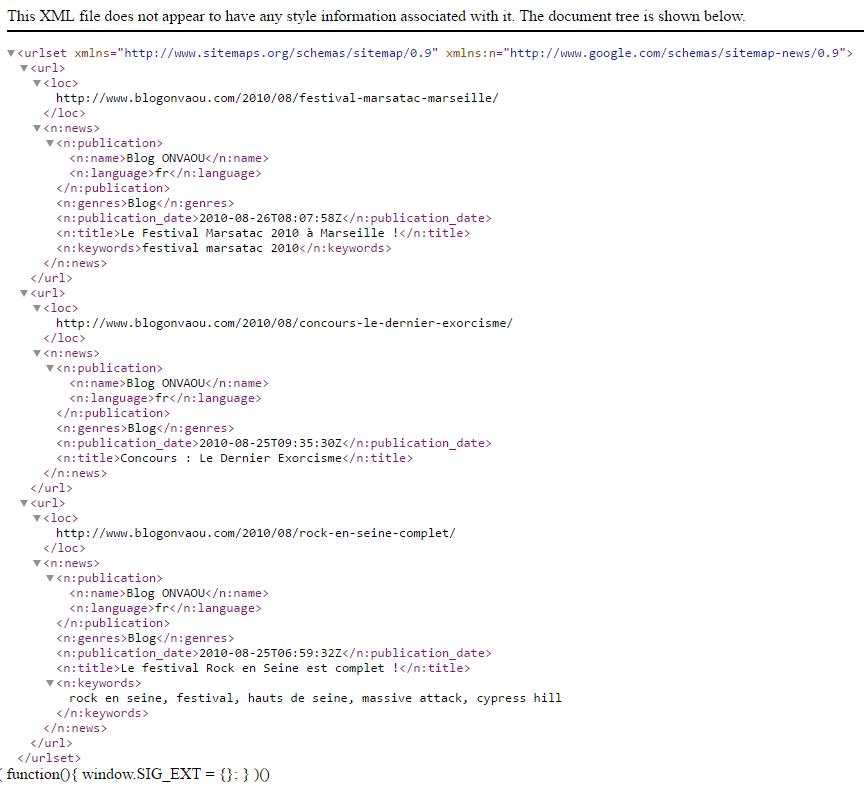 Sitemap XML pour Google Actualités