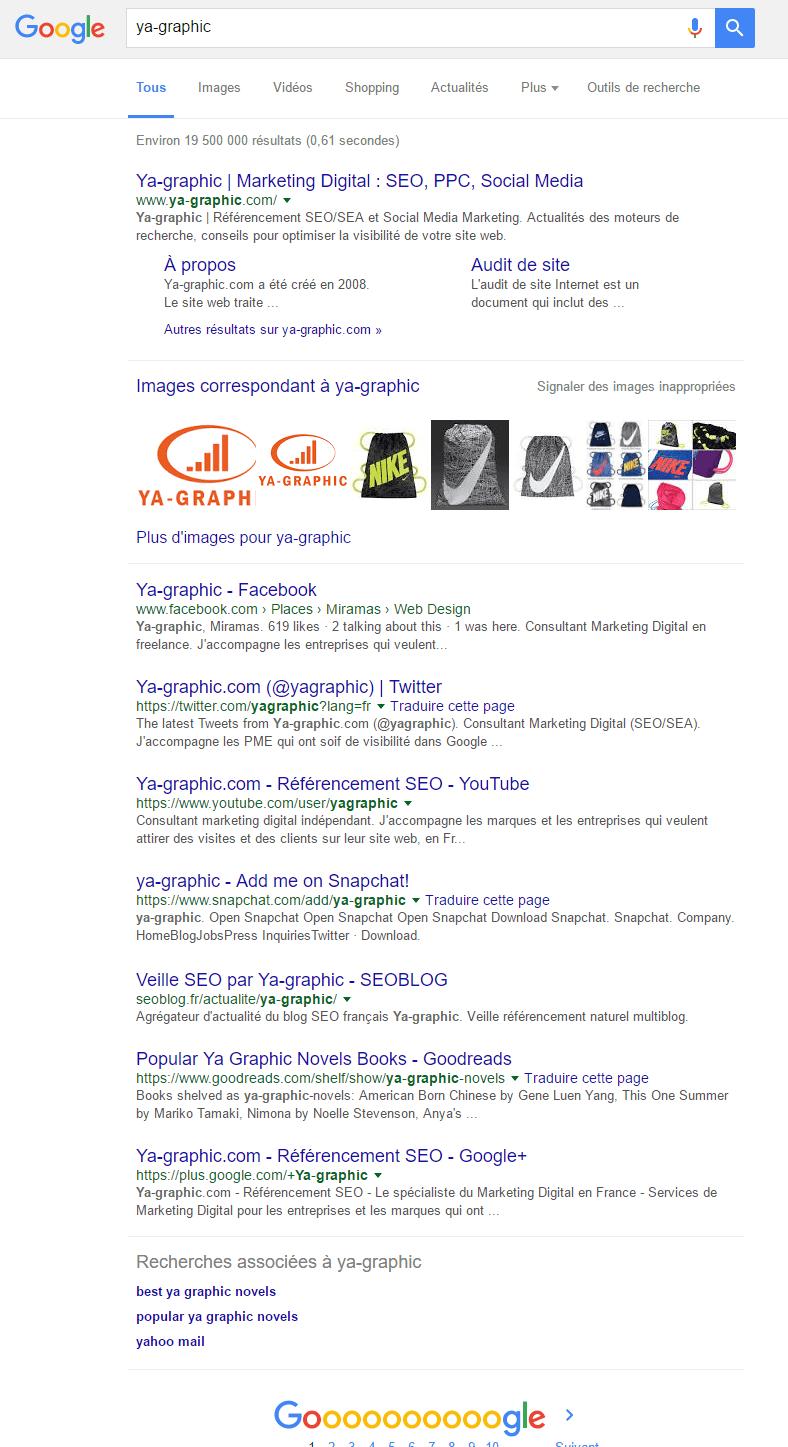 Snapchat en première page de Google.fr