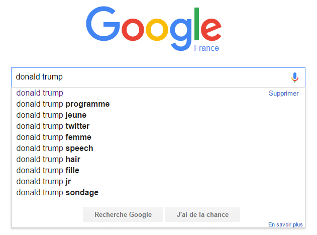 Donald Trump dans les suggestions de Google
