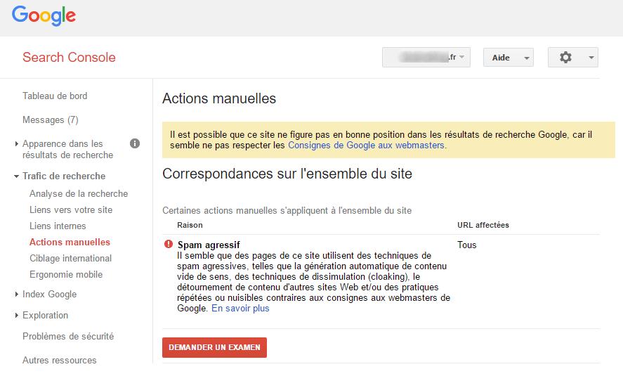 Action manuelle de Google
