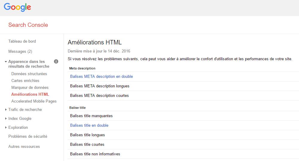 Améliorations HTML dans la Search Console de Google