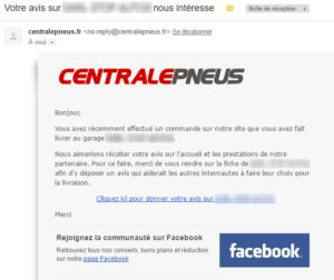 E-mail du site Centralepneus.fr