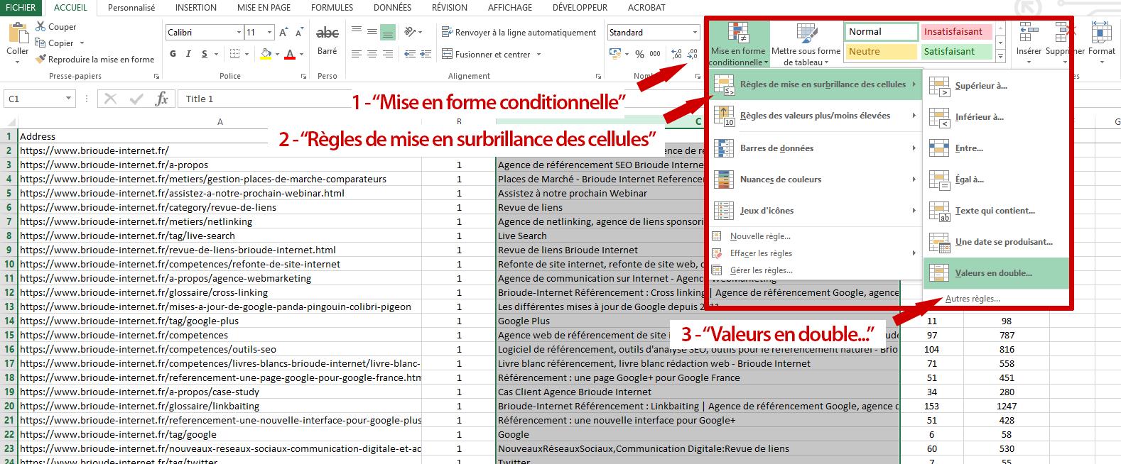 Recherche de doublons dans Excel