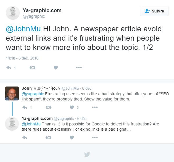 Question à John Mueller dans Twitter